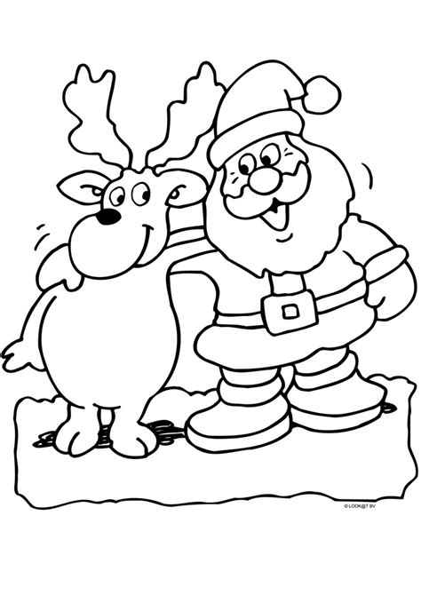Kerstman Rendier Kleurplaat kerstman met rendier kerst kleurplaten kleurplaat