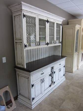antique white hutch, Painted, glazed, and distressed