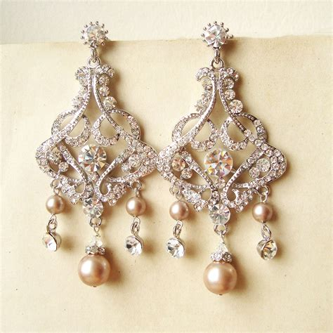 Chandelier Earrings Wedding by Chagne Pearl Bridal Earrings Chandelier Wedding Earrings