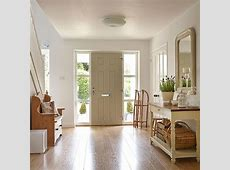 White hallway with painted console table Hallway