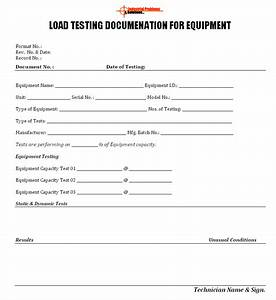 load testing documentation for equipment With load test plan template