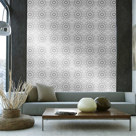 Home Interiors And Gifts Catalog Temporary Wallpaper Medallion Metallic Silver Black