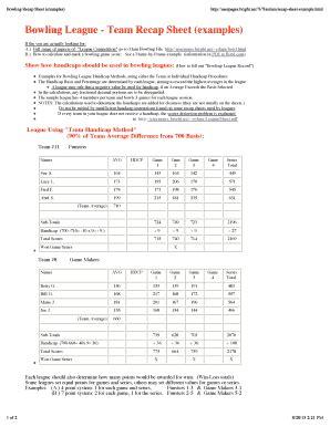 Editable Bowling Average Score Sheet Form Samples Online