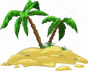 Isla de dibujos animados con dos palmeras Vector de stock © itsmokko #88299746