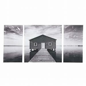 tableau triptyque 80 x 160 cm lac oak maisons du monde With triptyque maison du monde
