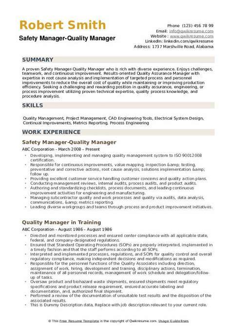 quality manager resume samples qwikresume