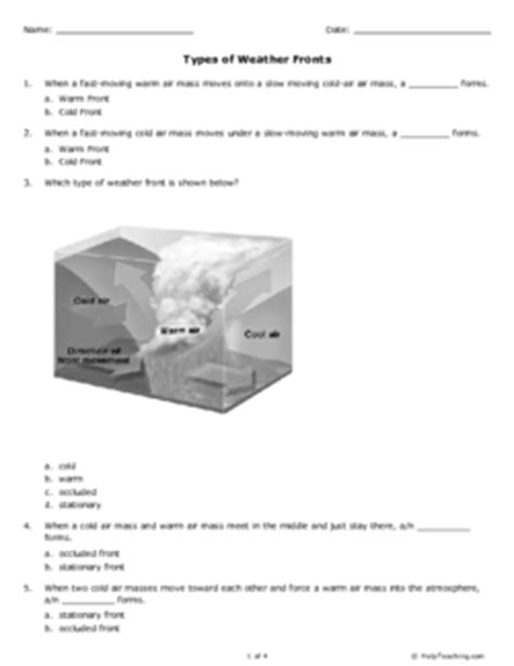 Types Of Weather Fronts (grade 7)  Free Printable Tests And Worksheets Helpteachingcom