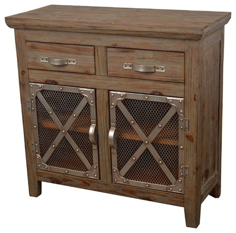 crossed metal  wood cabinet industrial accent