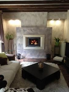 Cheminée Contemporaine Foyer Fermé : chemin e contemporaine avec cadre en pierre et foyer ferm ~ Melissatoandfro.com Idées de Décoration