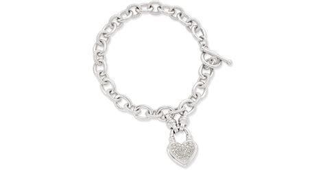Macy's Diamond Heart Charm Bracelet (1/4 Ct. T.w.) In Sterling Silver In Metallic Jewelry Exchange Kissimmee Online Boutique Cheap Worldwide Shipping Parties Store Philippines Vintage Auctions Quote