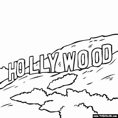 Hollywood Sign Angeles Los Coloring Pages Famous