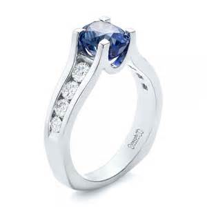 blue sapphire halo engagement rings custom blue sapphire and channel set diamonds engagement ring