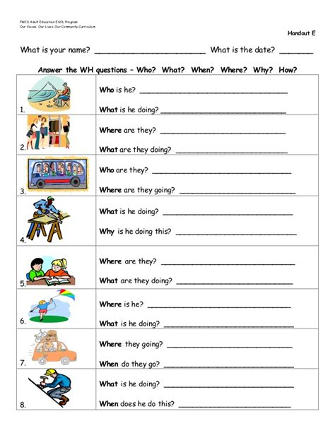 introduction  wh questions handouts