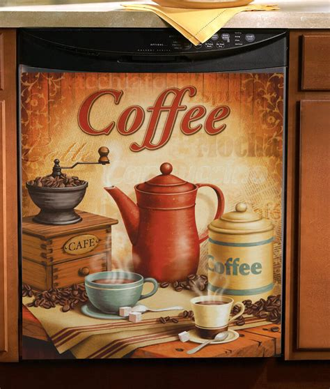 vintage coffee kitchen magnetic dishwasher cover    appliance home decor ebay