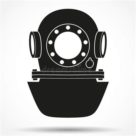 silhouette symbol  underwater diving helmet stock