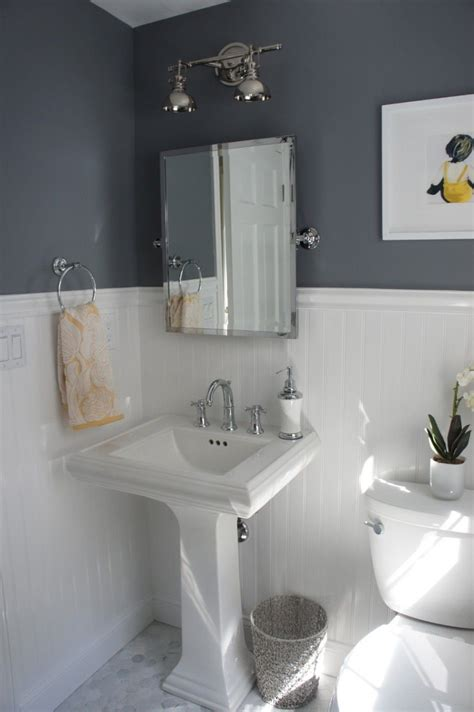 bathroom with wainscoting bathroom cool small bathroom ideas with white beadboard wainscoting and dark gray laminate