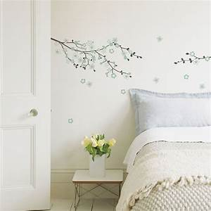 Fine d?cor cherry blossom duck egg self adhesive wall