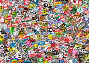 stickerbomb mural