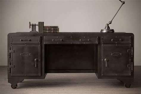 Impressivelooking Iron Vault Desk By Restoration Hardware