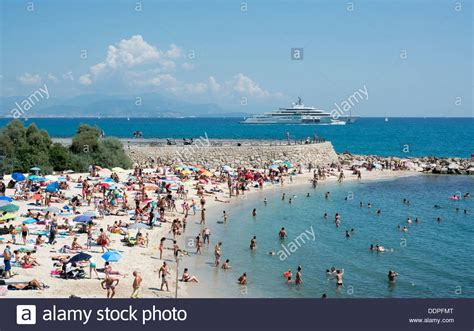 A Packed Antibes Beach On The French Riviera Cote Dazur