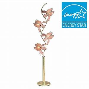 ore international 73 in pink and gold floor lamp k9334g With gold flower floor lamp