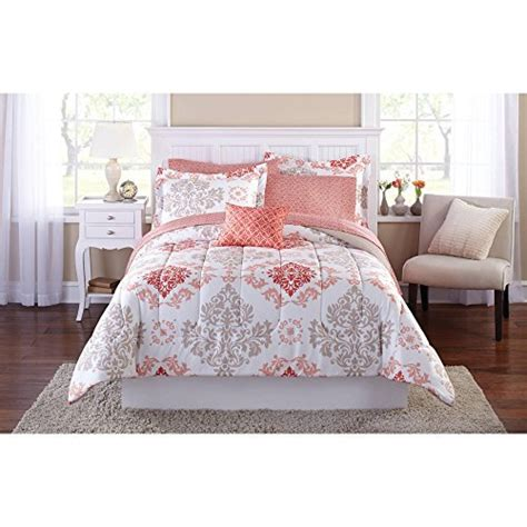 teen girls pink coral damask 6 piece comforter set twin twin xl size bed in a bag rings n