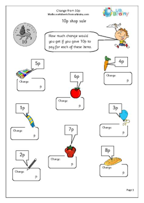 change  p  money maths worksheets  year  age