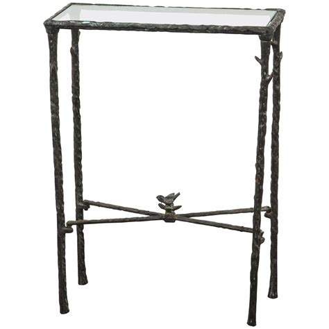 Giacometti Style Wrought Iron And Glass Console At 1stdibs