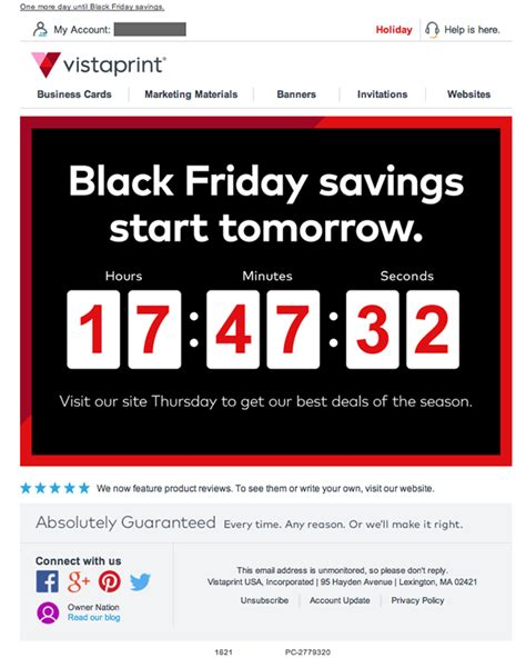 vistaprint email review   countdown  black friday