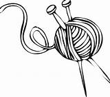 Knitting Yarn Needles Ball Drawing Drawings Coloring Vector Template Line Pages Sketch Clipartmag Getdrawings Story sketch template