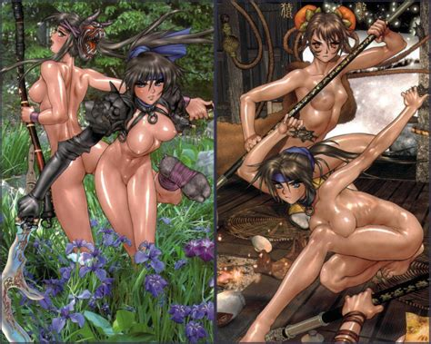 2girls Amazon Armor Ass Barefoot Bow Breasts Collar Forest Hellhound Jungle Girl Mask Multiple