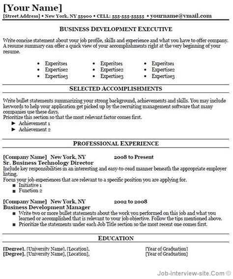 best business resume formats professional resume top
