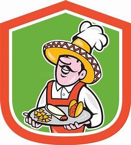 Mexican Chef Cook Shield Cartoon Stock Vector ...