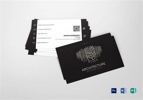 Architect Business Card Design Template In Word, Psd