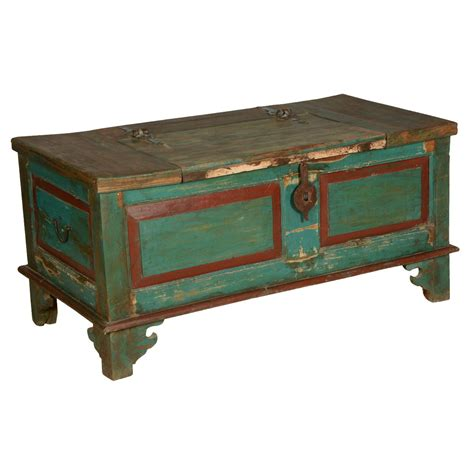 blue red farmhouse distressed reclaimed wood coffee