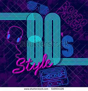 Retro Style 80 S Disco Design Neon Stock Vector