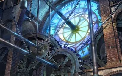 Steampunk Gears Clock Tower Background Wallpapers Machine