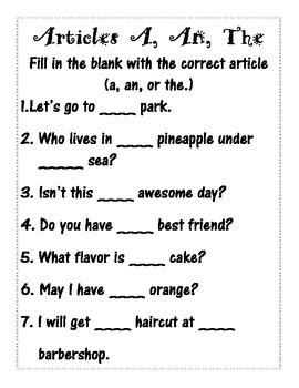 Articles A, An, The Activity, Worksheets, And Task Cards By Vanessa Crown