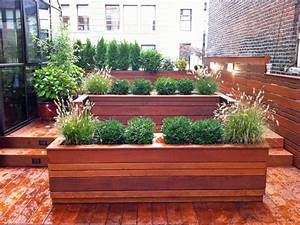 NYC Roof Garden: Terrace Deck, Wood Planter Boxes, Fence