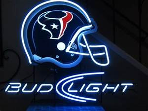 Bud Light Beer Houston Texans NFL Football Helmet Neon