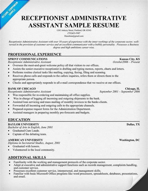 resume for administrative asistant receptionist career infographic sle resume receptionist