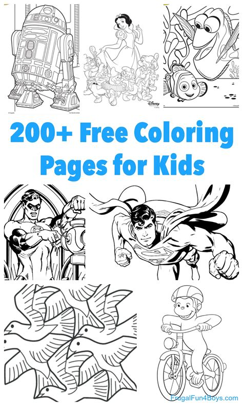 printable coloring pages  kids frugal fun