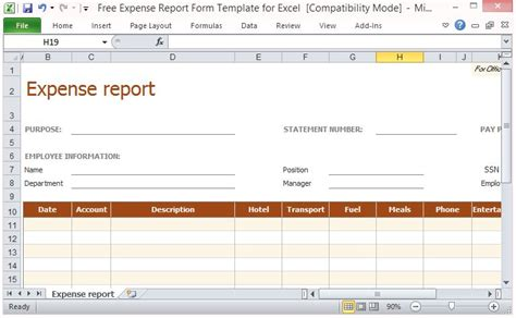 expense report form template  excel