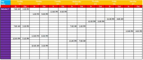 work schedule template basic sheets  excel
