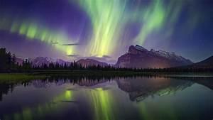 aurora, borealis, mountains, lake, reflection, banff, national