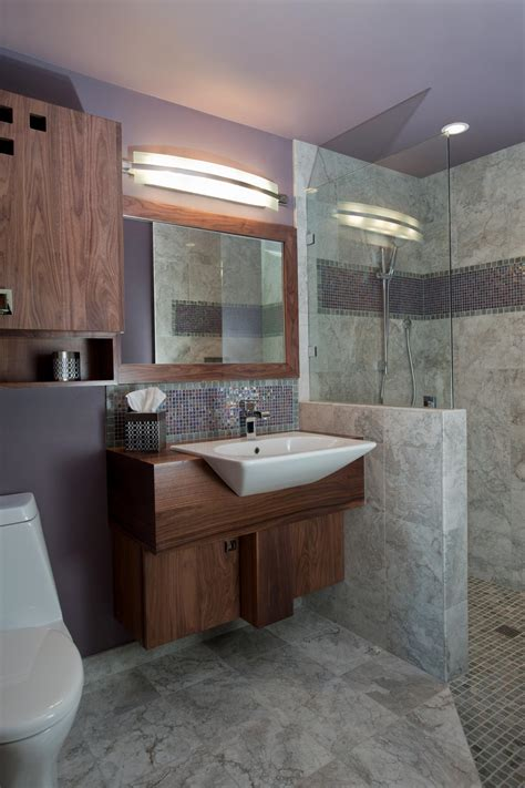 Lavender Midcentury Modern Bathroom With Gray Marble Tile