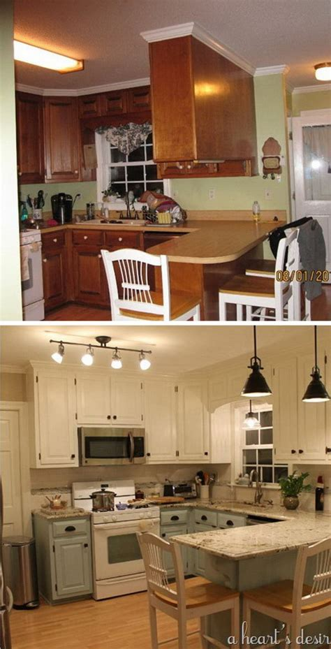 budget kitchen makeover mobile home makeover pinterest before and after 25 budget friendly kitchen makeover
