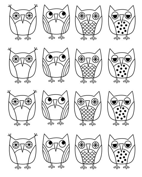 Pictures Of Owls To Color by Free Printable Owl Coloring Pages For Embroidery