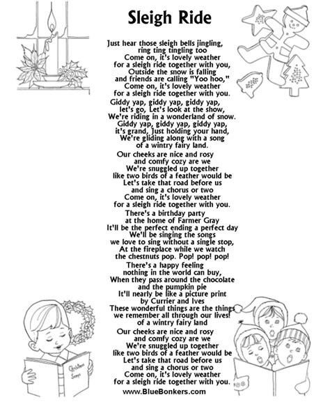 Printable Christmas Carol Lyrics Sheet  Sleigh Ride  Christmas Song Lyrics  Pinterest Songs