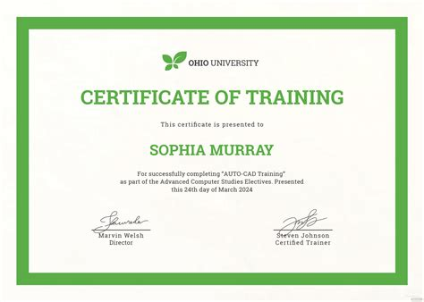 computer training certificate template  psd ms